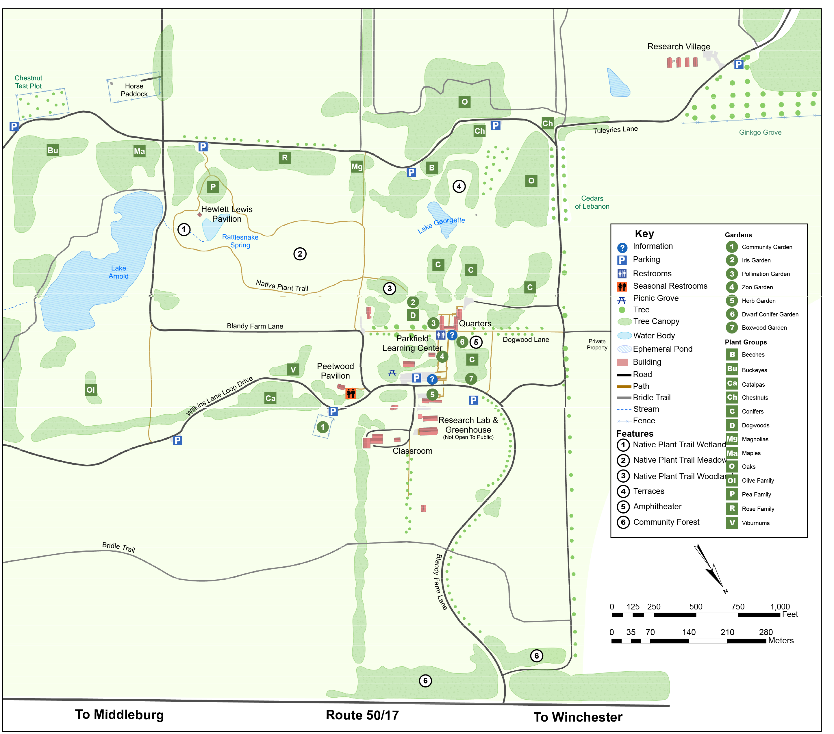 Map of Blandy property highlighting areas of interest